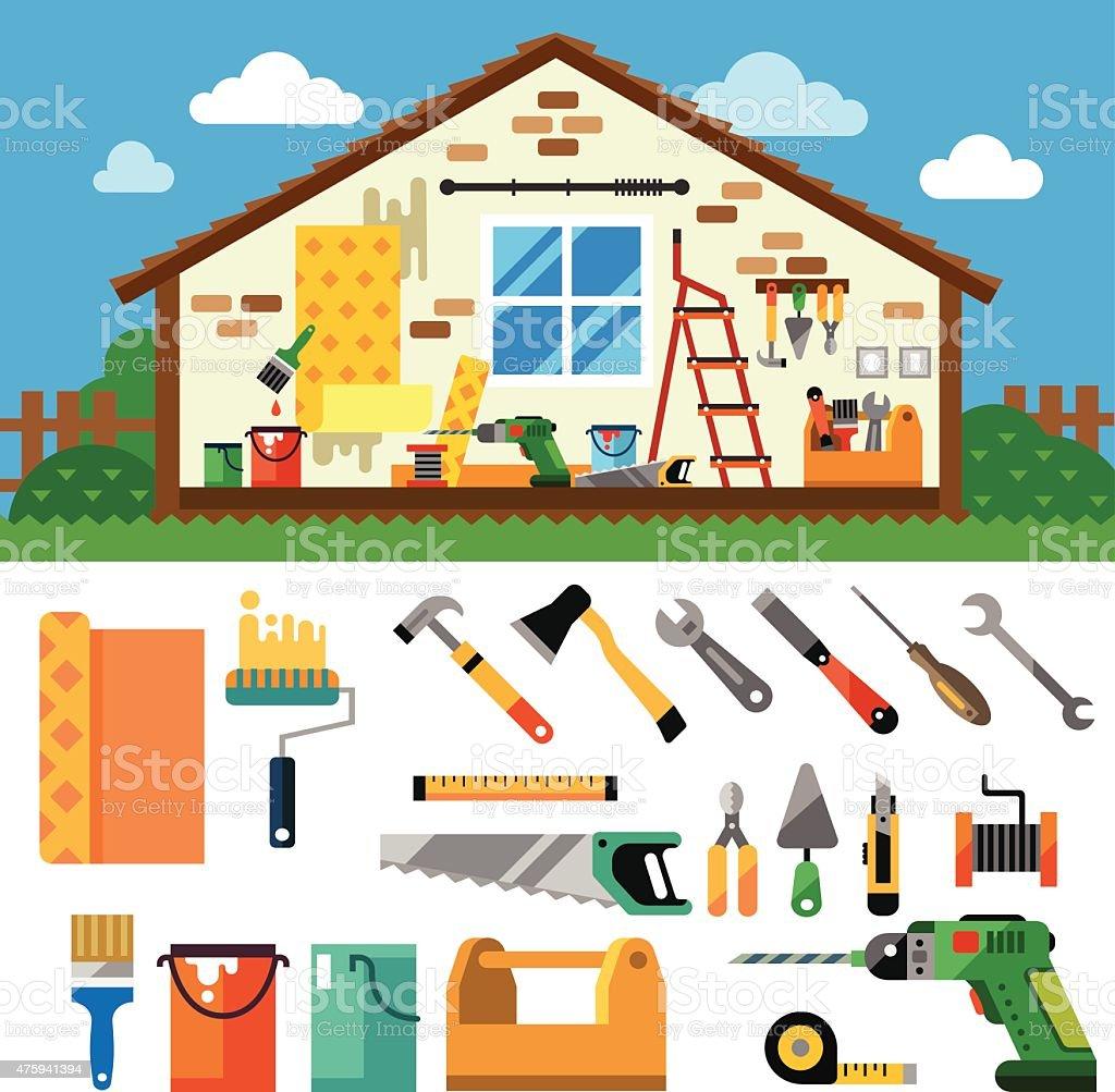 Home repair landscape vector art illustration