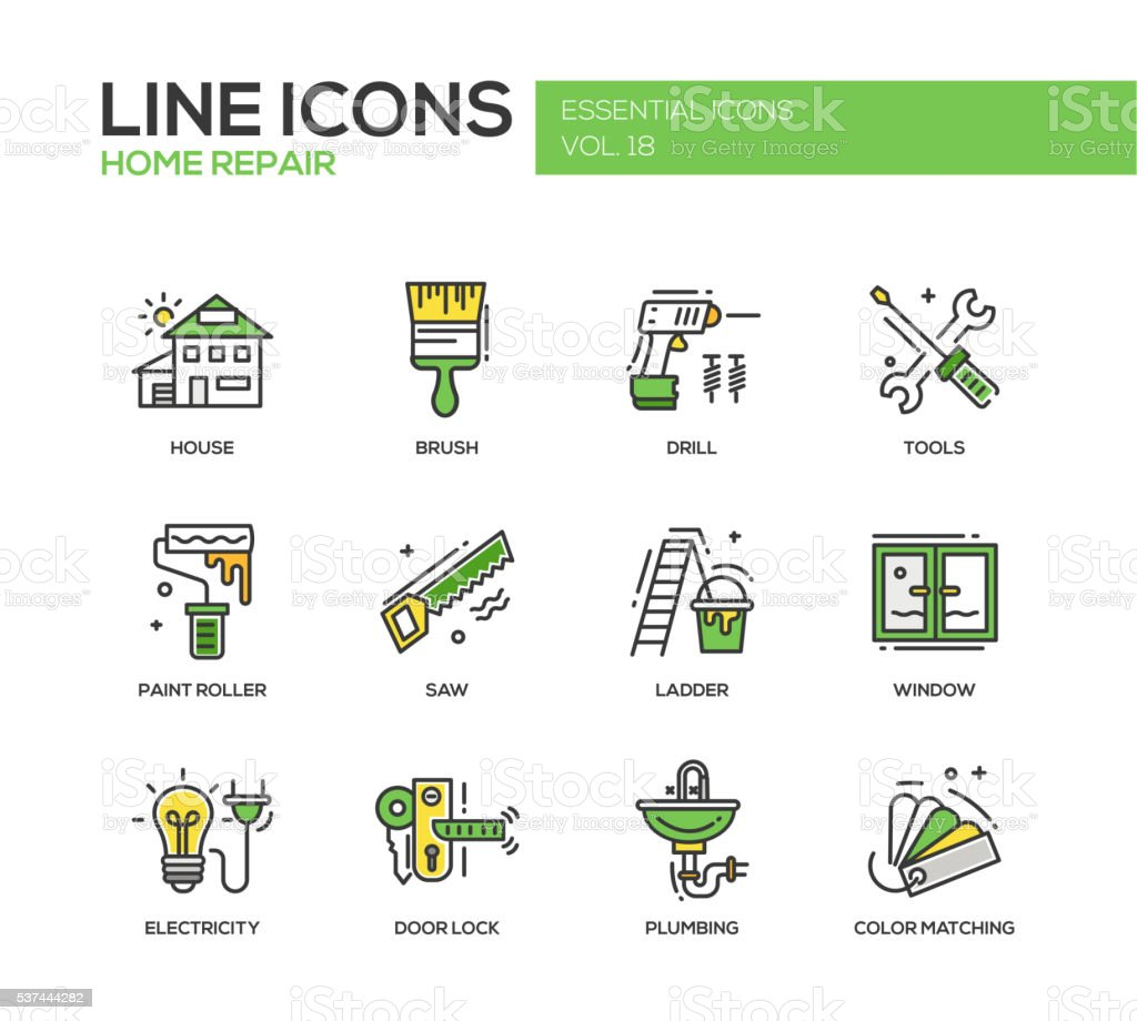 Home repair line design icons set vector art illustration
