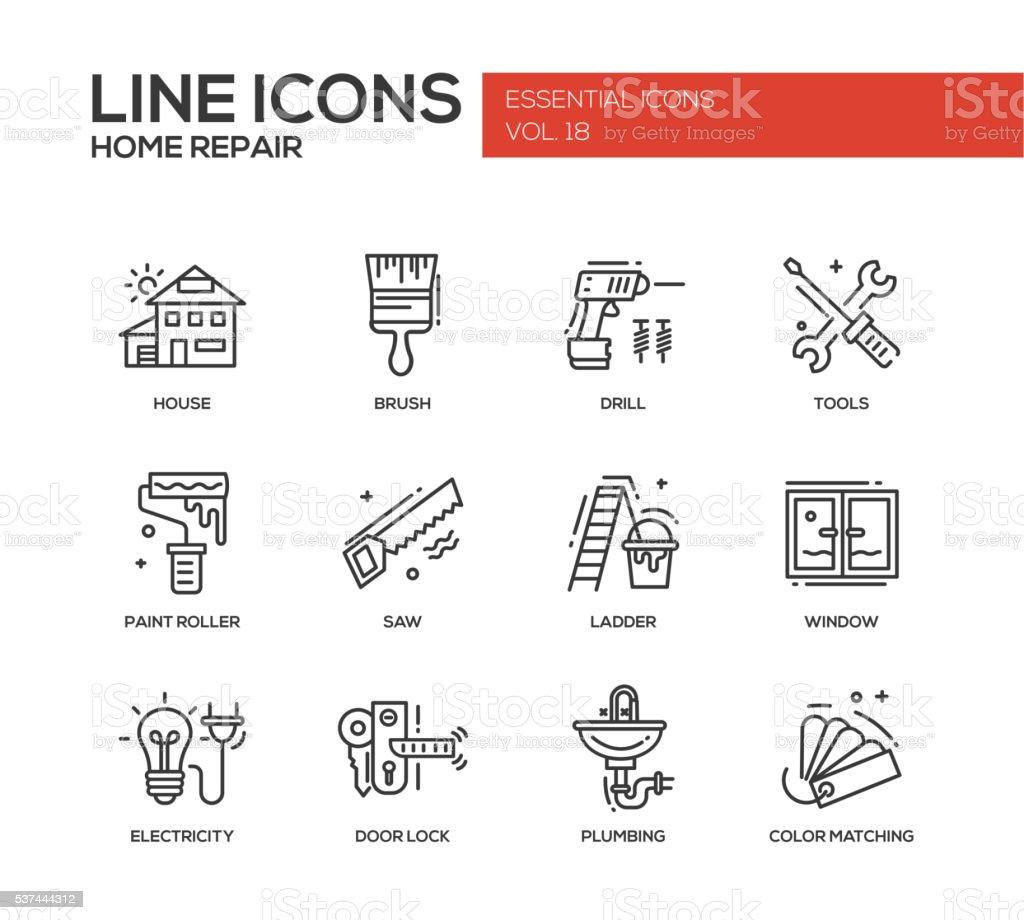 Home repair line design icons set vector art illustration