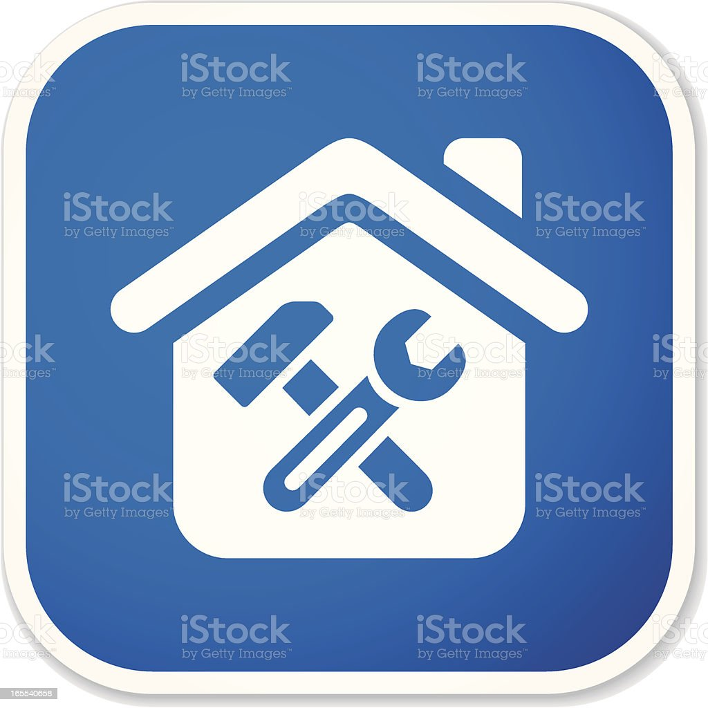 home repair sq sticker vector art illustration