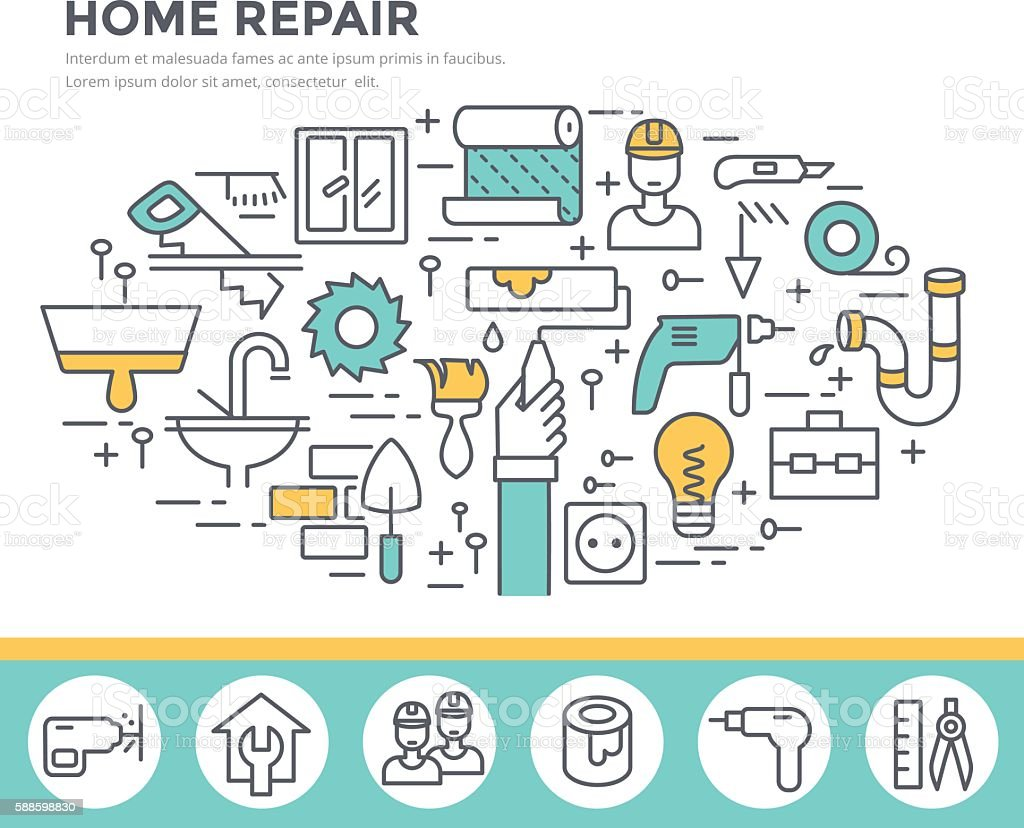 Home repair tools concept illustration. vector art illustration