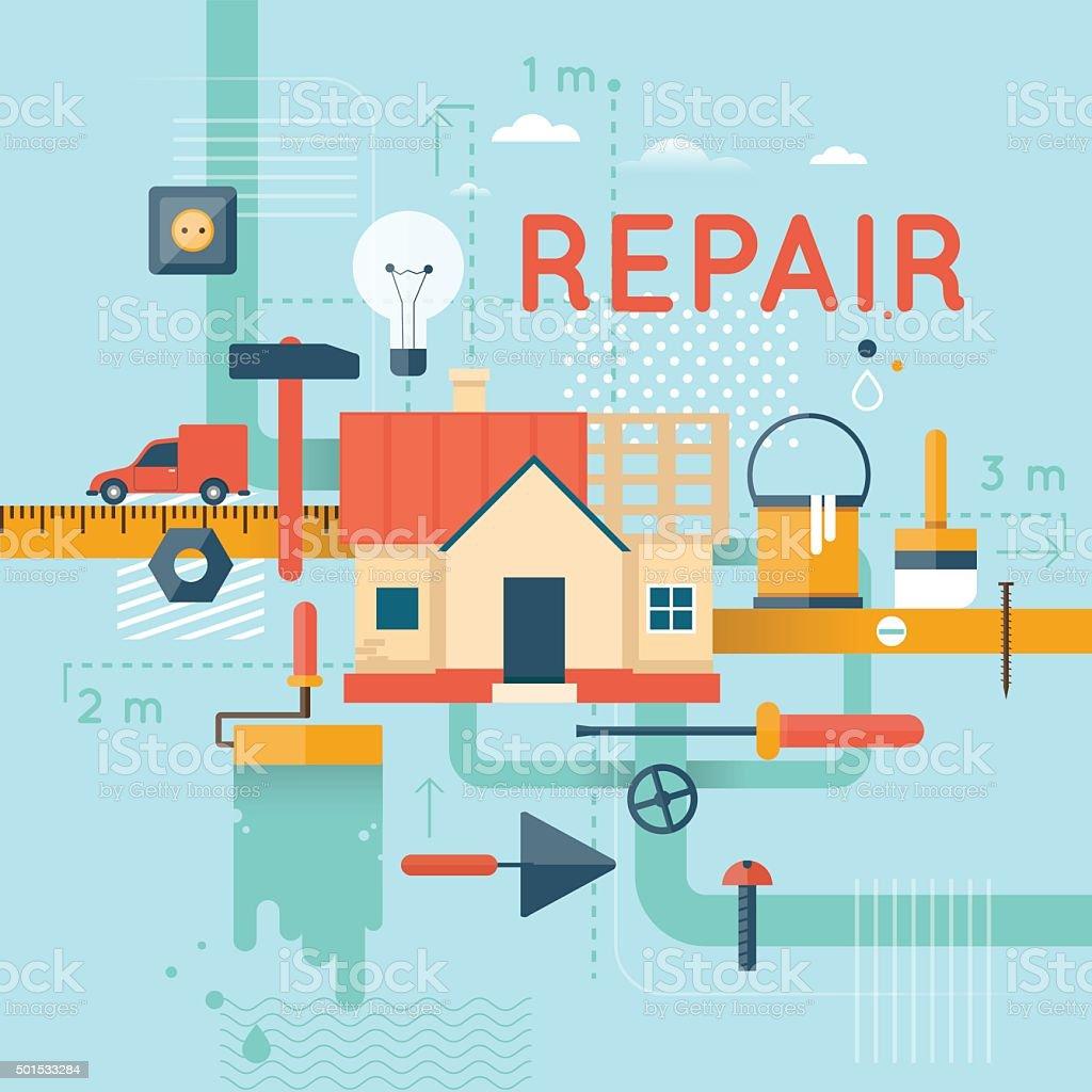 Home repair. vector art illustration