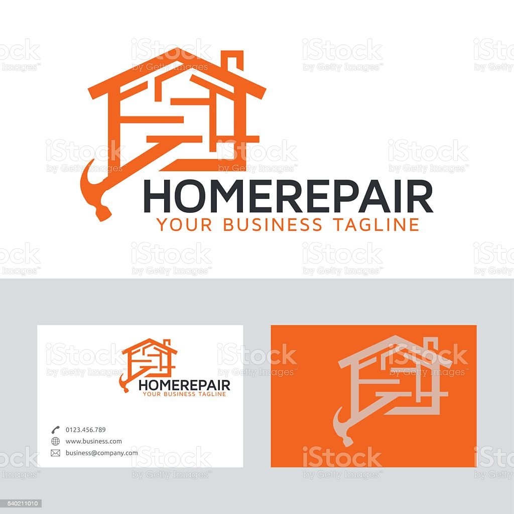 Home repair vector logo with business card template vector art illustration