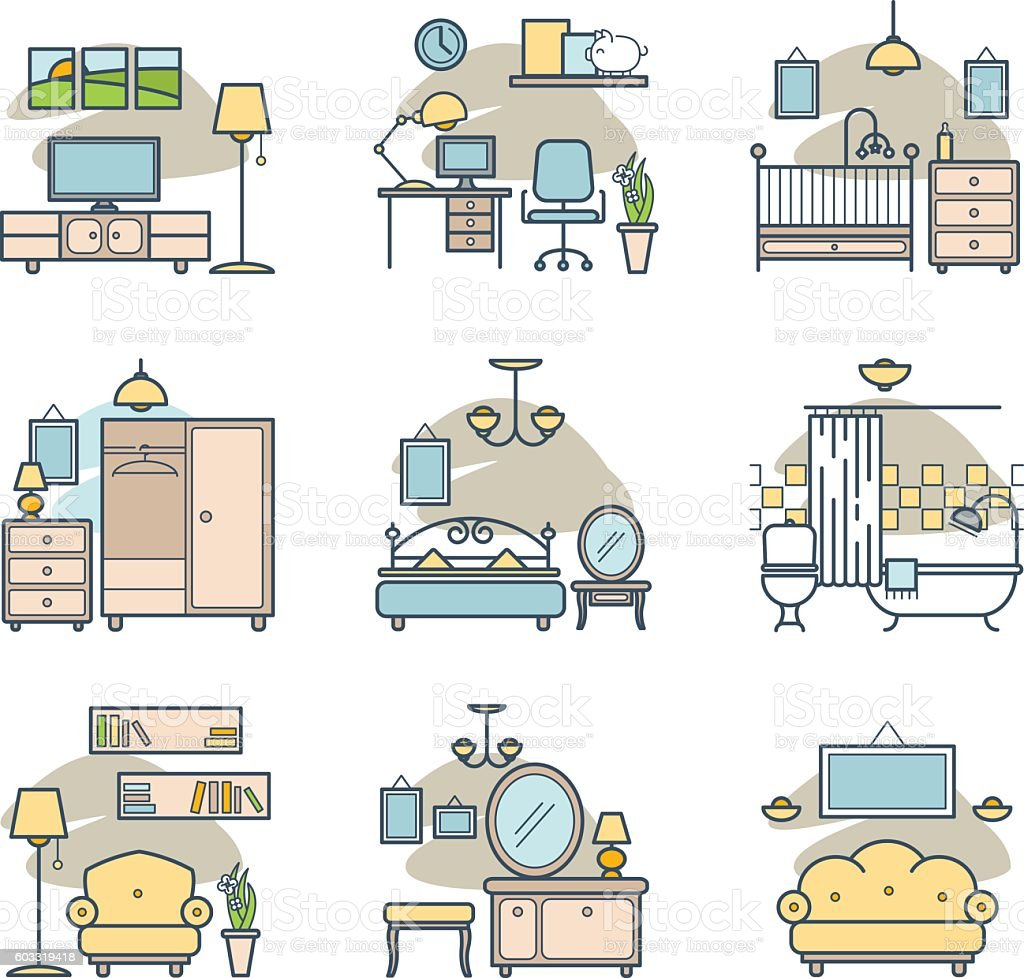 Home room icons set vector art illustration