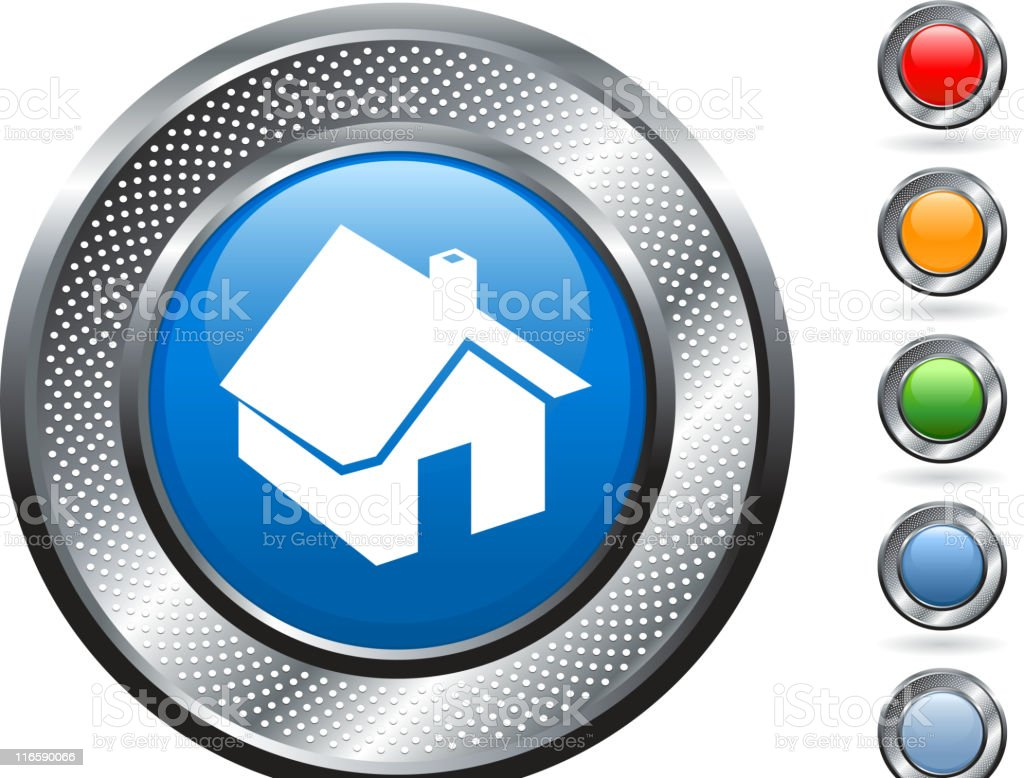 home  icon on button with metallic border royalty-free stock vector art