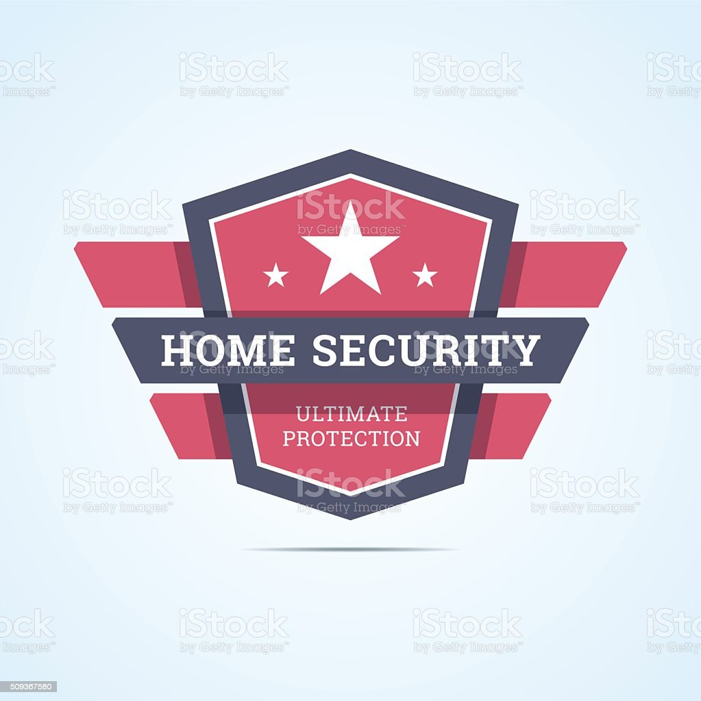 Home security badge. vector art illustration
