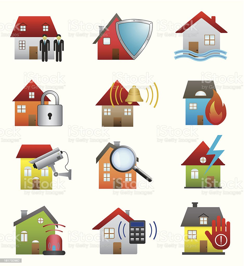 Home security icons royalty-free stock vector art