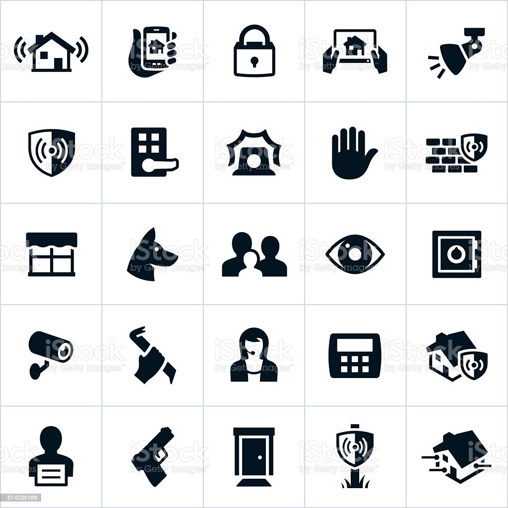 Home Security Icons vector art illustration