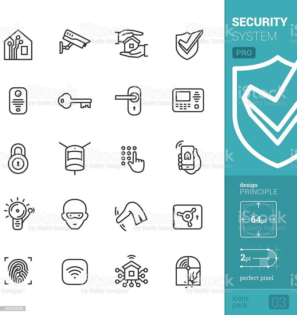 Home security system vector icons - PRO pack vector art illustration