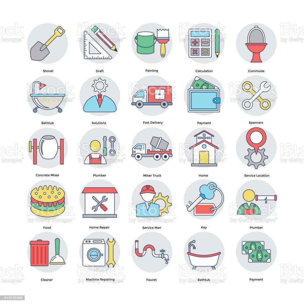 Home Services Flat Circular Icons Set 5 vector art illustration