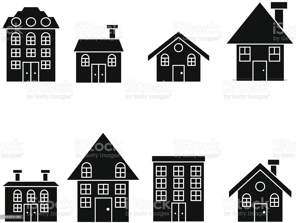 home silhouette set royalty-free stock vector art