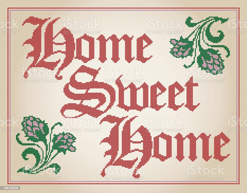 Home Sweet Home Cross Stitched Decoration vector art illustration