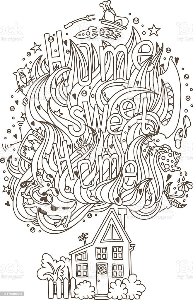 'Home sweet home' monochrome ornament for adult coloring book vector art illustration