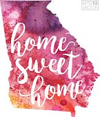 Home Sweet Home Vector Watercolor Map of Georgia