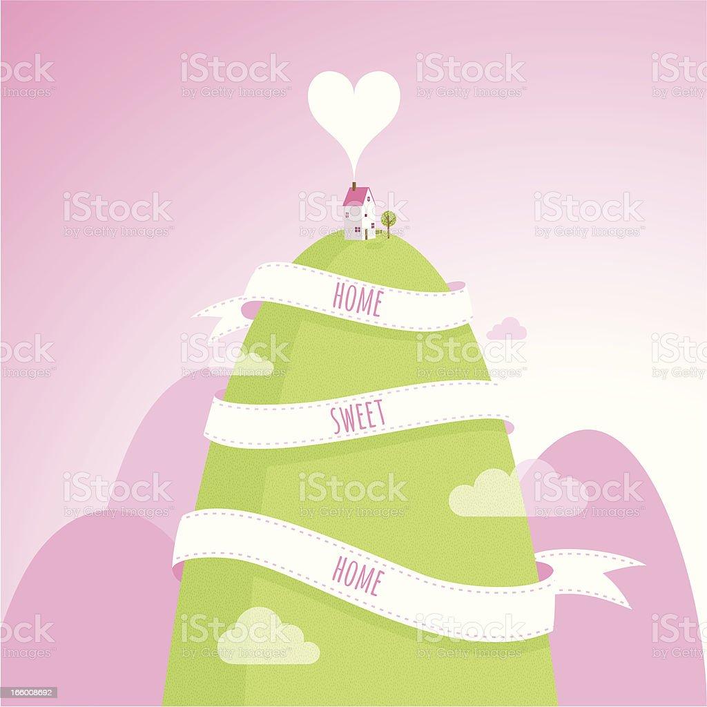 home sweet house mountain love illustration vector royalty-free stock vector art