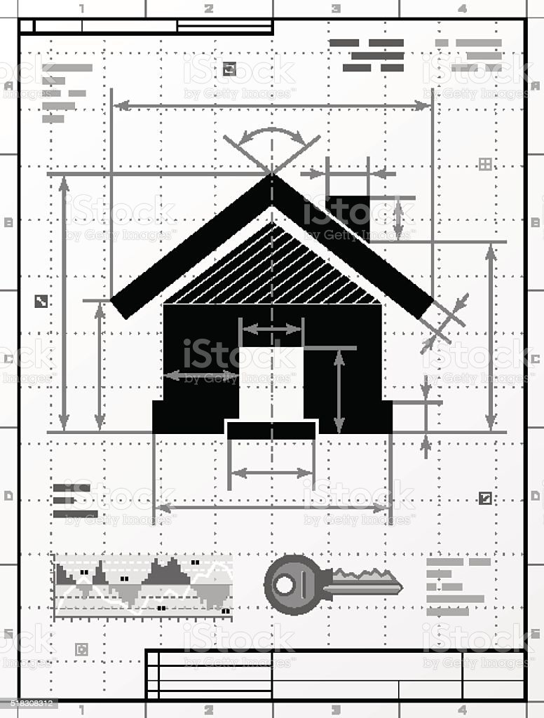 Home symbol as technical drawing vector art illustration