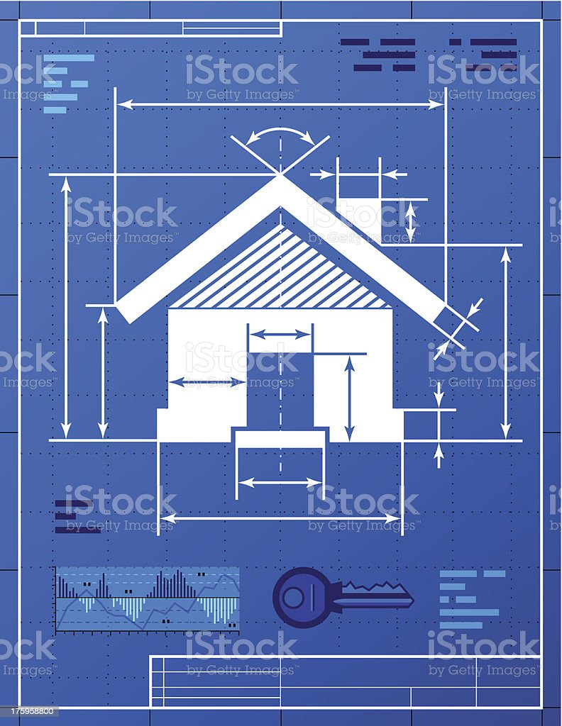 Home symbol like blueprint drawing royalty-free stock vector art