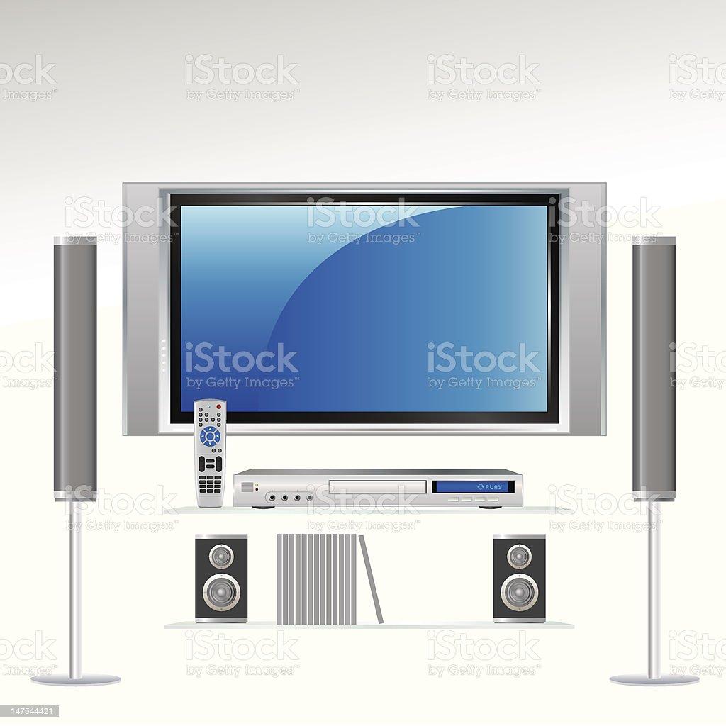 Home Theater System | HDTV vector art illustration
