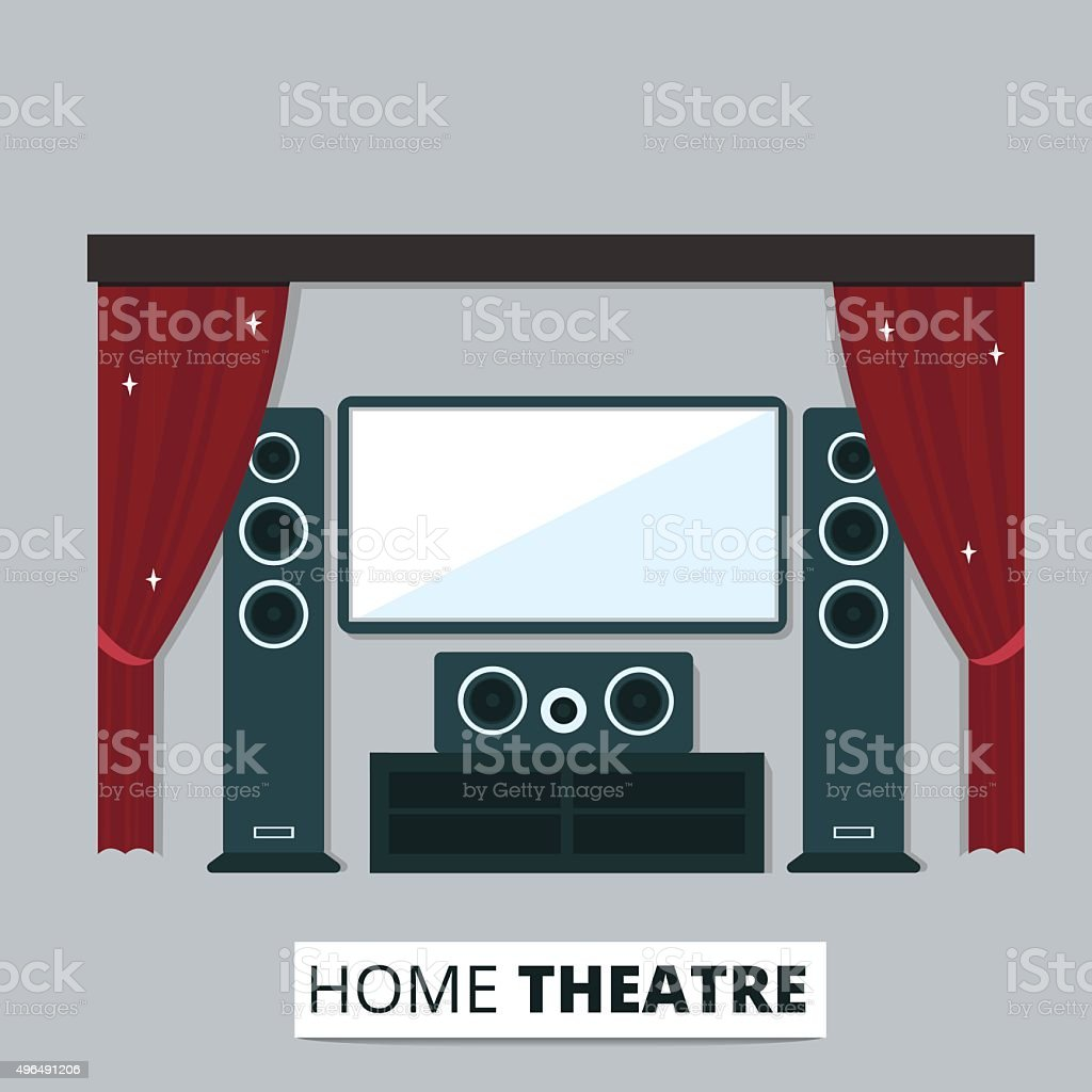 Home theatre vector art illustration