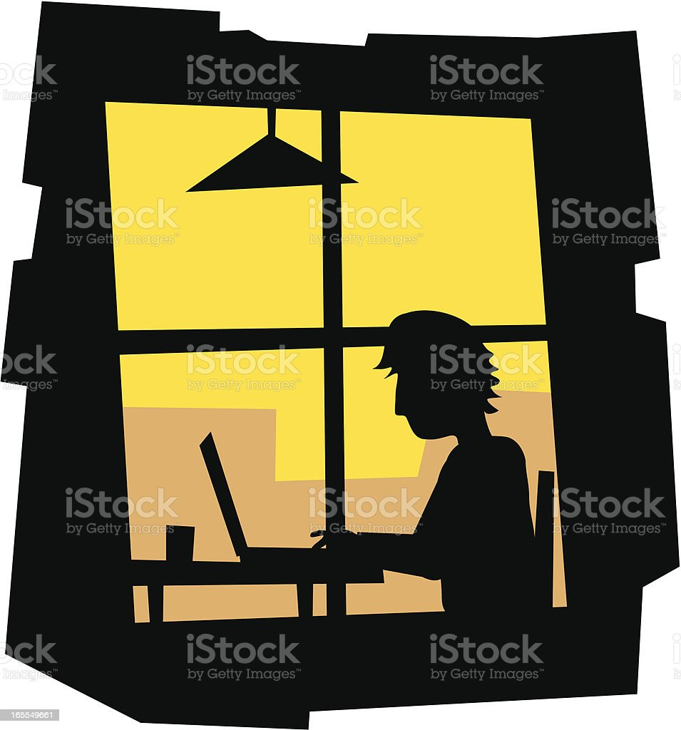 Home Worker vector art illustration