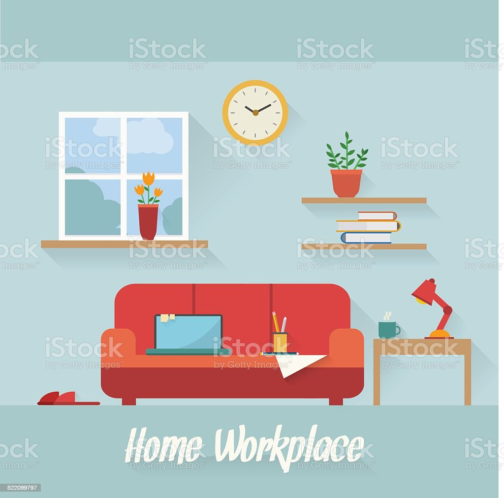 Home workplace flat illustration vector art illustration