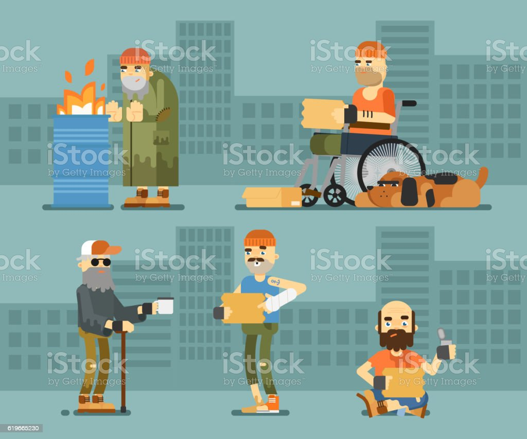 Homeless hungry beggar begs for money set vector art illustration