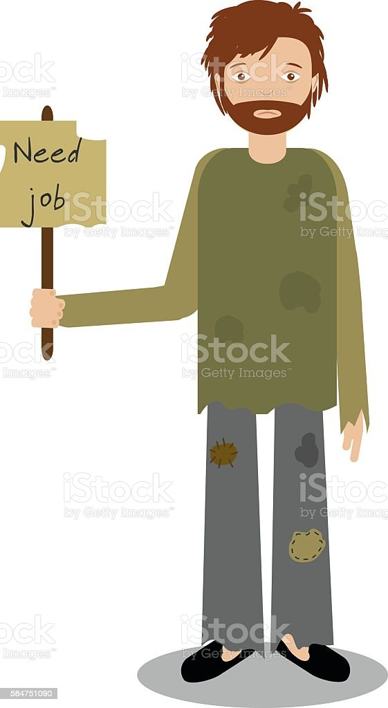 Homeless man begging for job. Vector illustration vector art illustration