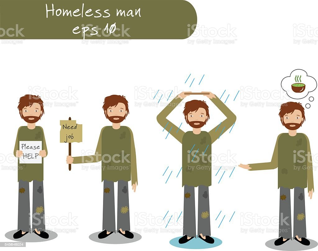Homeless man begging for money, job, food, help. Vector illustration vector art illustration