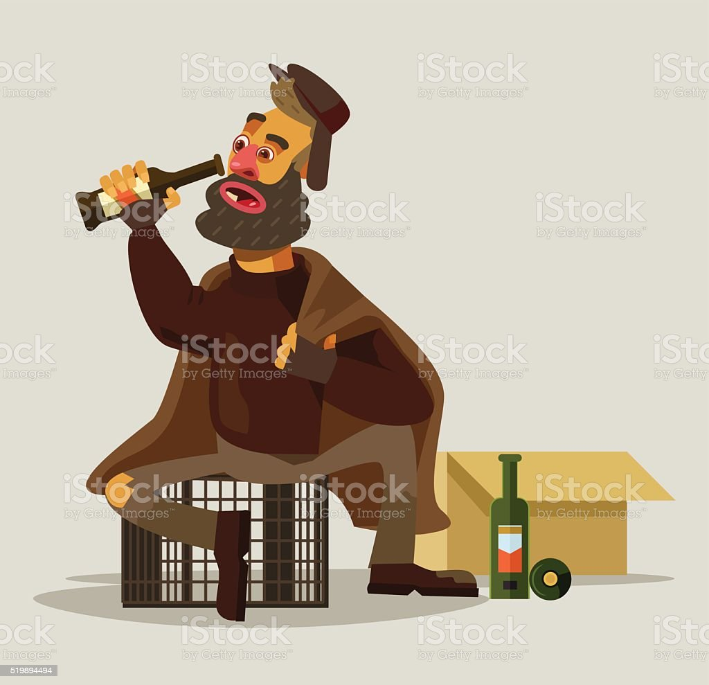 Homeless man drinking alcohol. Vector flat illustration vector art illustration