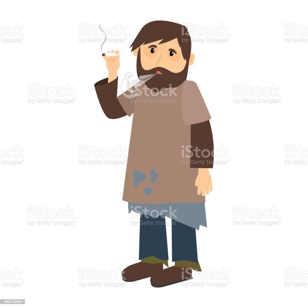 Homeless man smokes cigarette vector art illustration