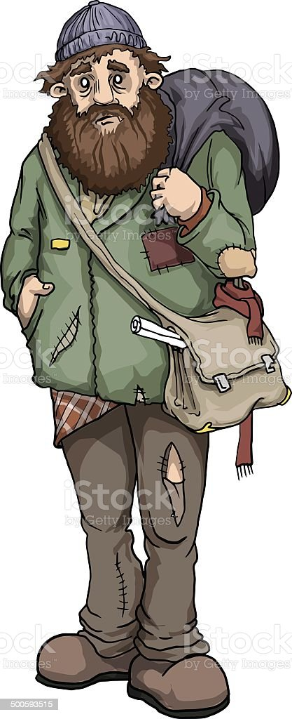 Homeless man vector art illustration