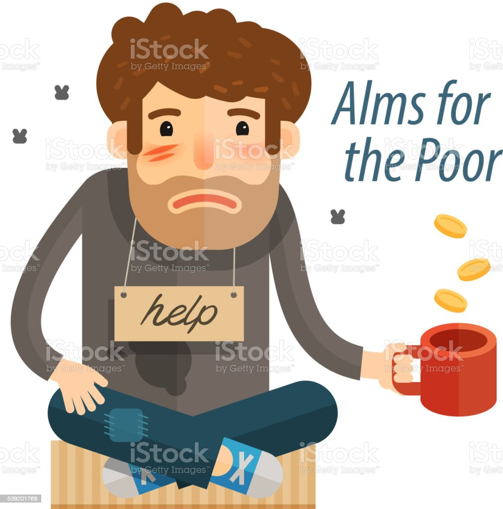 Homeless. Poor man in dirty rags with mug in hand vector art illustration