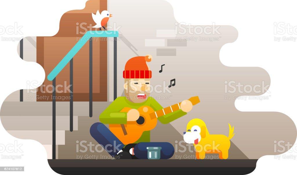 Homeless poor man plays guitar about hard life hunger cold asks for help compassion music dog street wall door bird ladder background flat design vector illustration vector art illustration