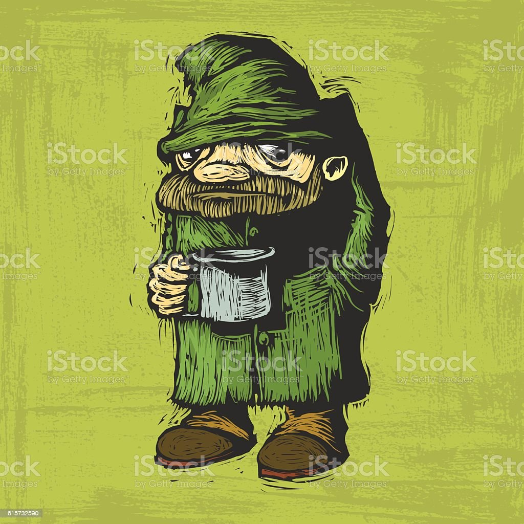 homeless with mug vector art illustration