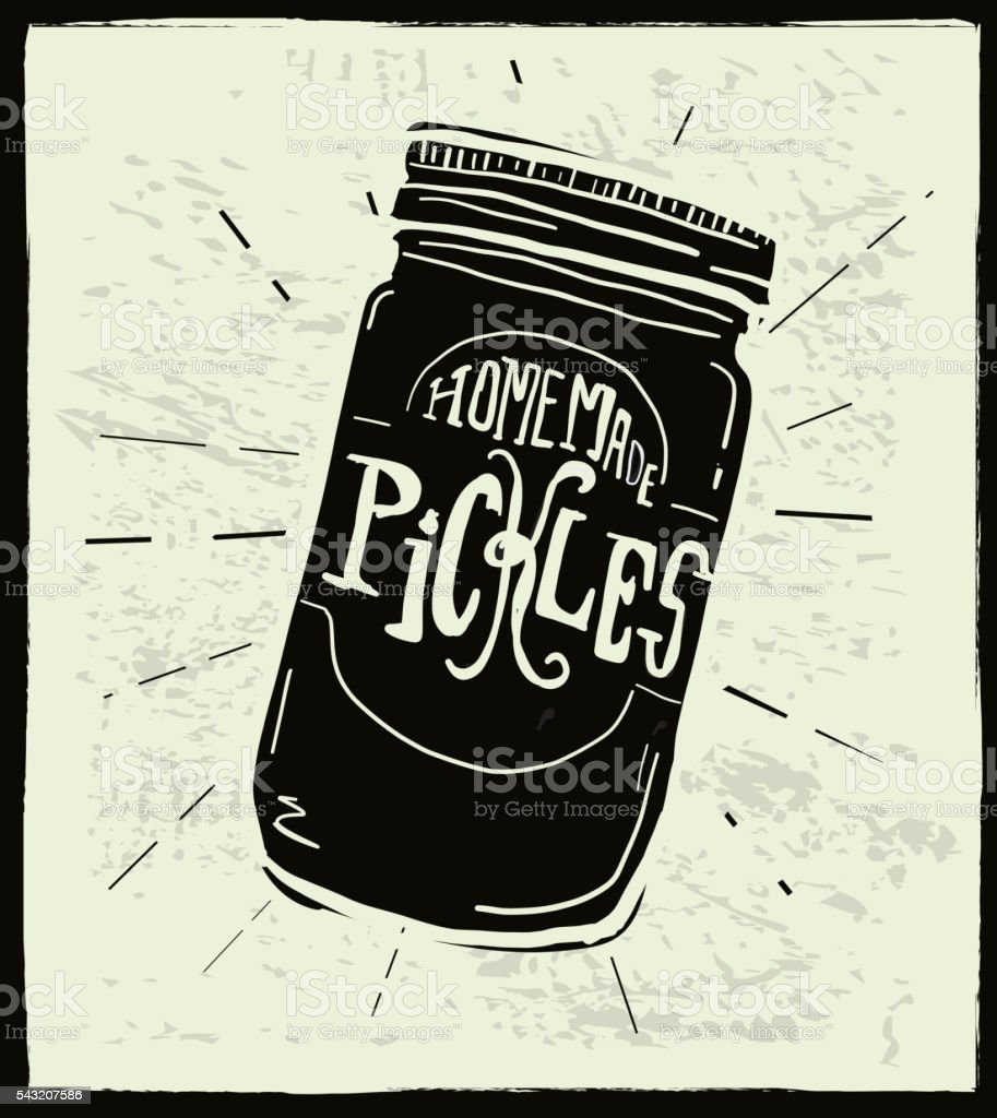 Homemade artisan pickle jar with hand lettered label design vector art illustration