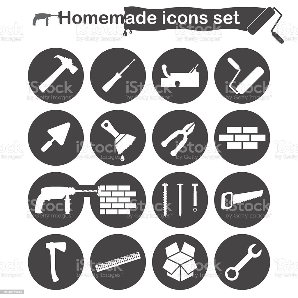 Homemade construction and renovation icons set vector art illustration