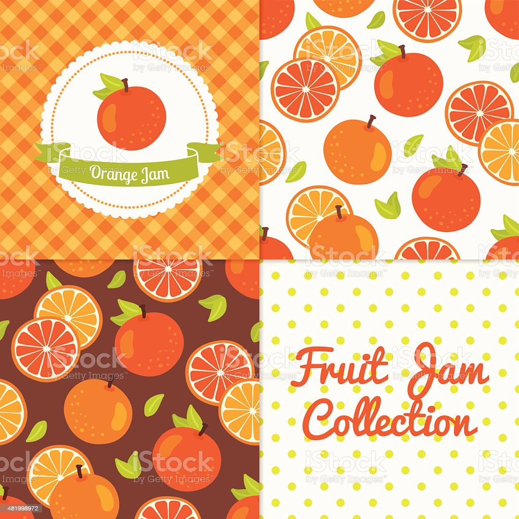 Homemade orange jam collection vector art illustration