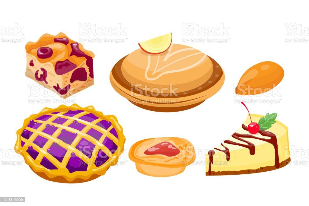 Homemade organic pie dessert vector illustration vector art illustration