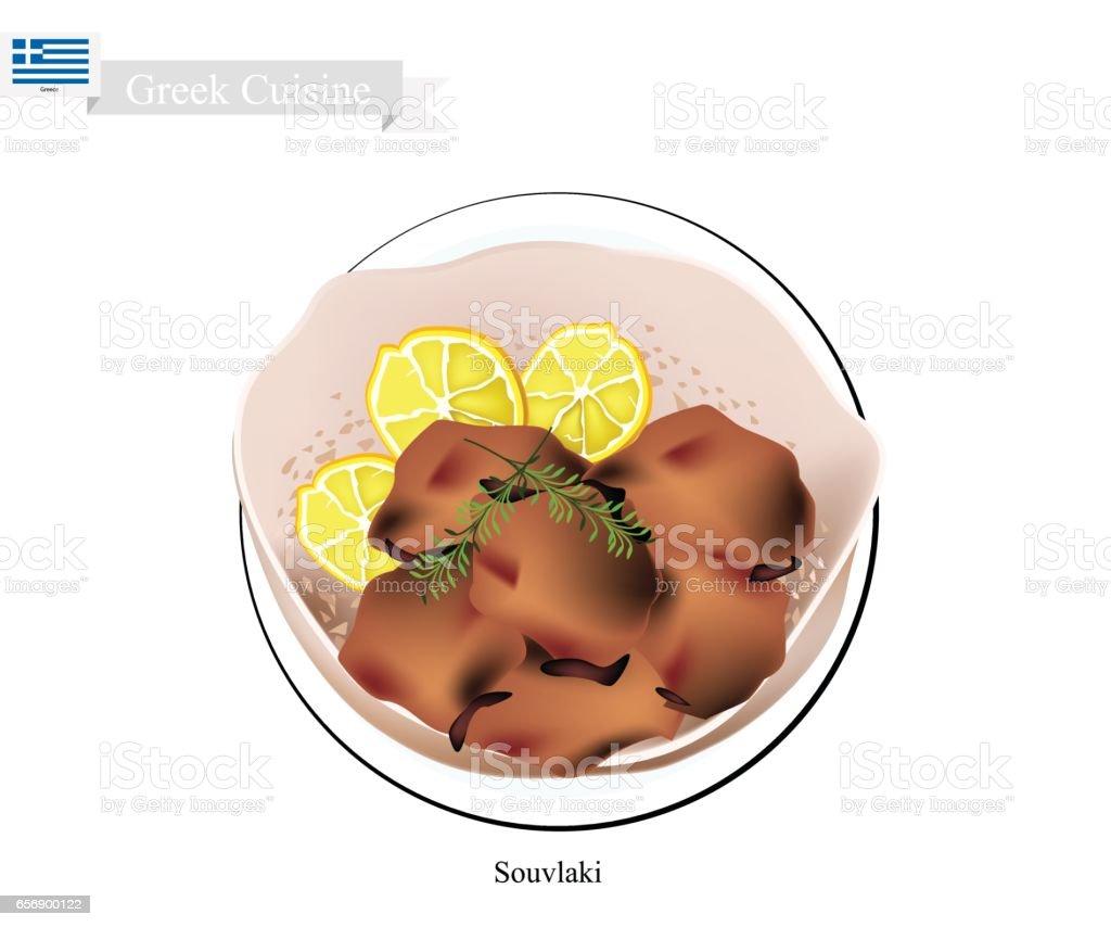 Homemade Souvlaki, A Popular Greek Fast Food vector art illustration
