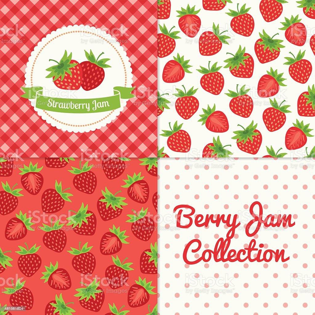 Homemade strawberry jam collection vector art illustration