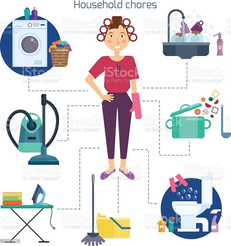 Homemaker and household chores. vector art illustration