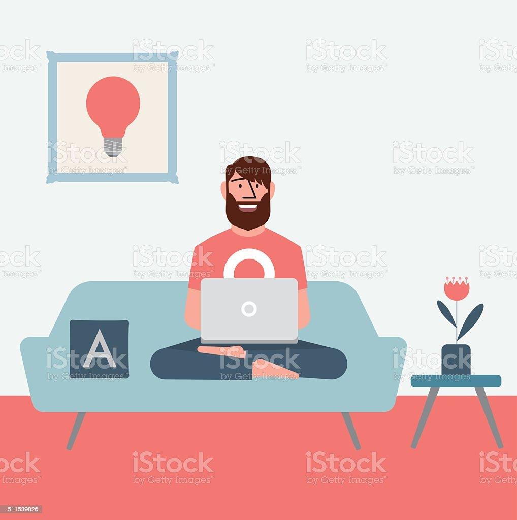Homeoffice vector art illustration