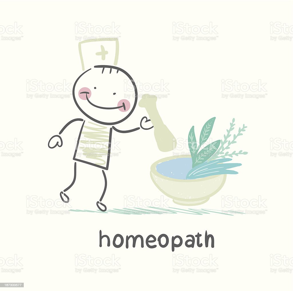 homeopath medicine prepared from plants royalty-free stock vector art