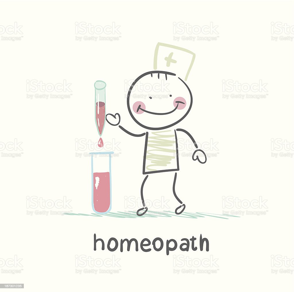 homeopath medicine prepared in test tubes royalty-free stock vector art