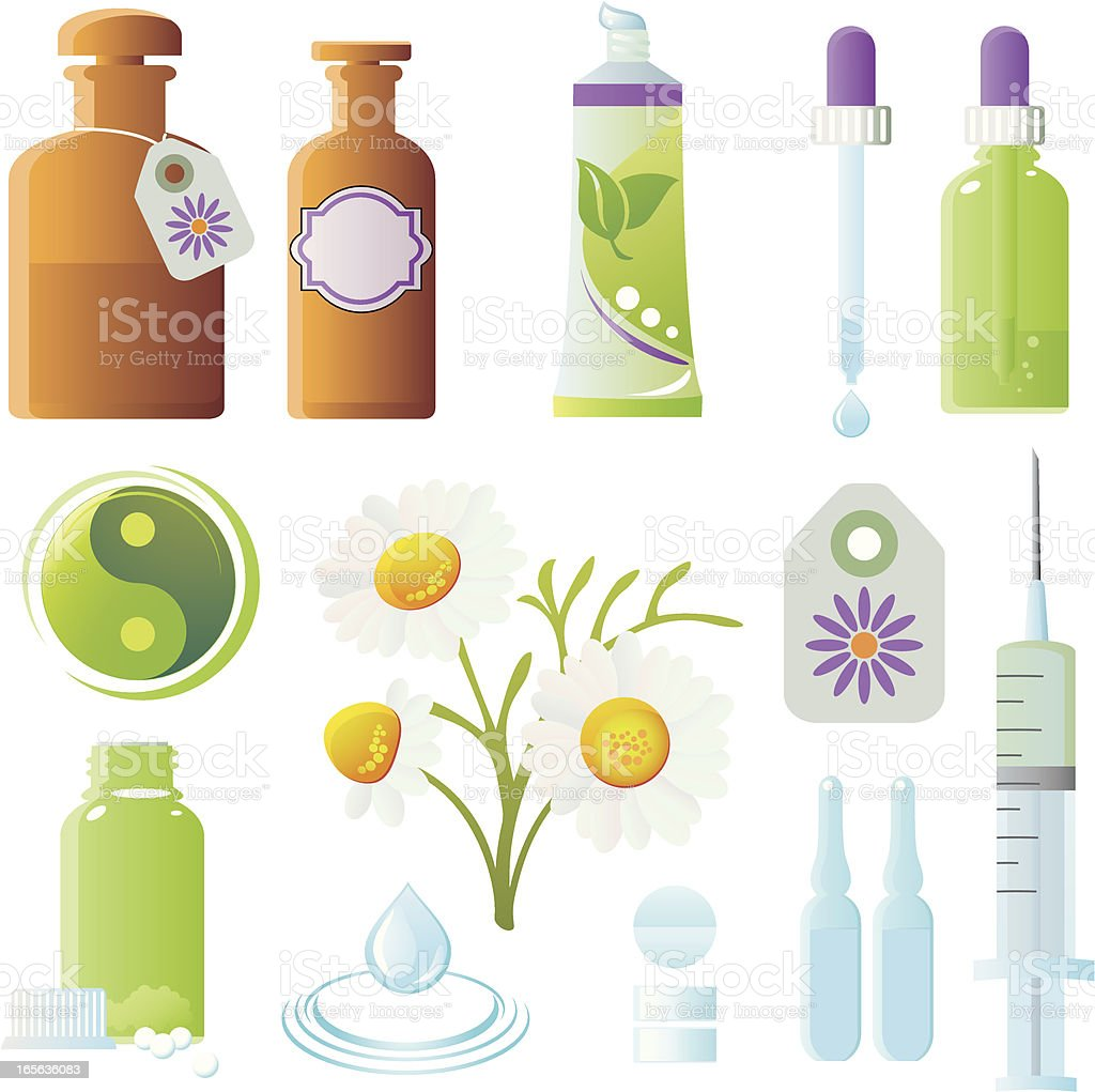 Homeopathy Healing Herbs And Medicine Bottles Alternative Medicine Icon Set vector art illustration