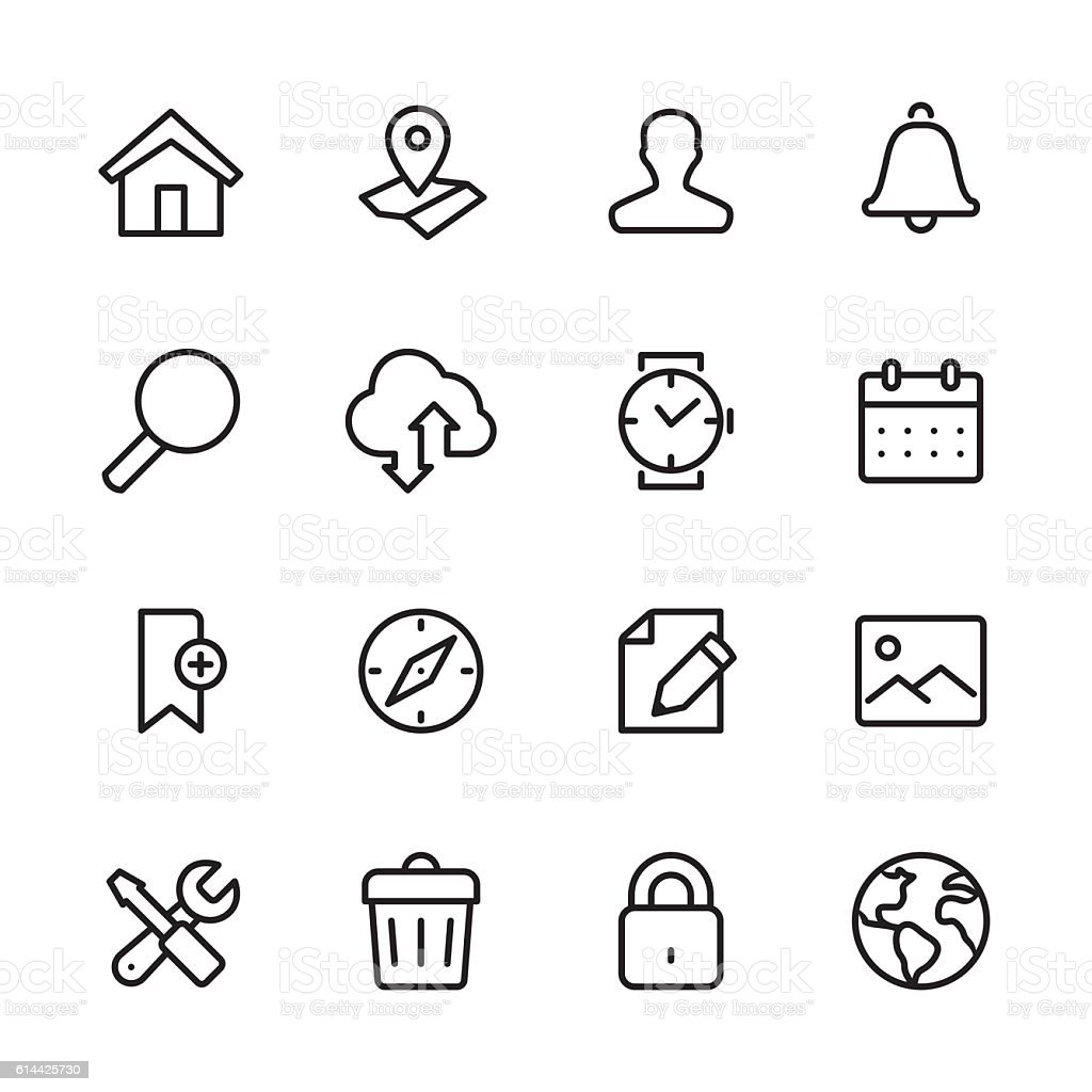 Homepage - outline style vector icons vector art illustration