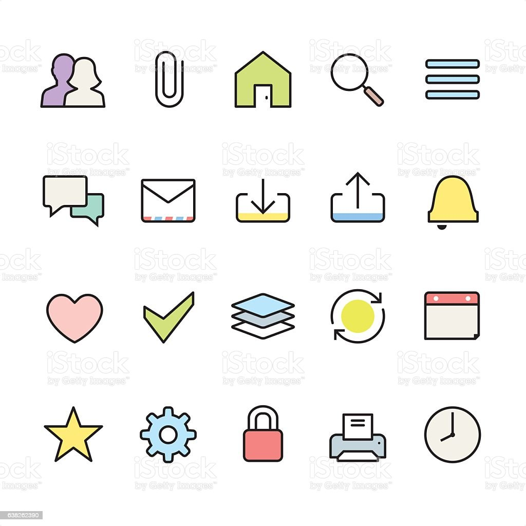 Homepage UI pack - outline color vector icons vector art illustration