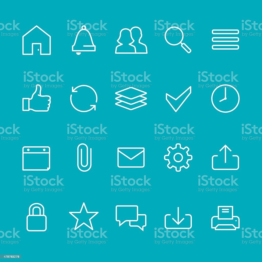 Homepage UI vector stroke icons vector art illustration