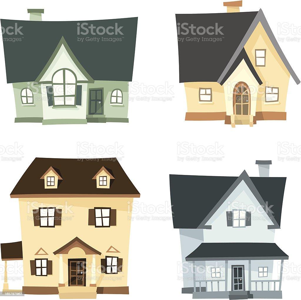 3D Homes Cartoon Set vector art illustration
