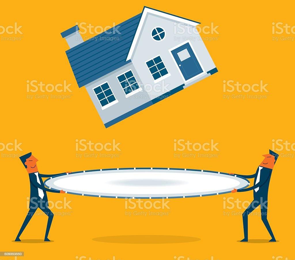 Homes decreasing in value vector art illustration